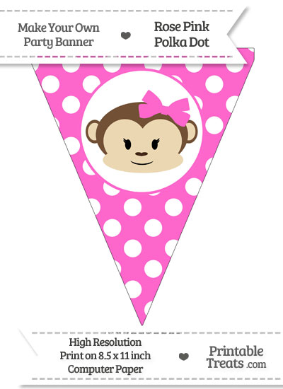 Rose Pink Polka Dot Pennant Flag with Girl Monkey from PrintableTreats.com