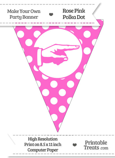 Rose Pink Polka Dot Pennant Flag with Hand Pointing Right from PrintableTreats.com