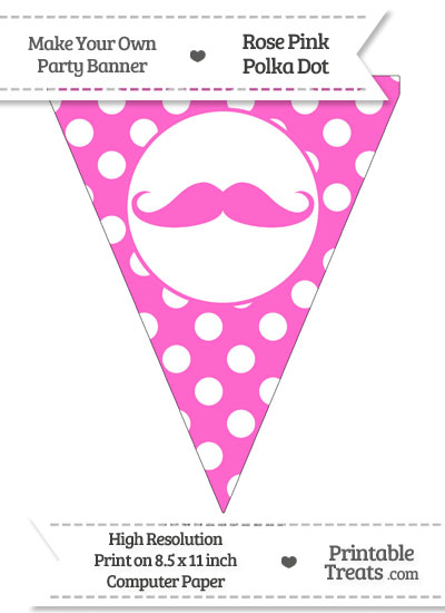 Rose Pink Polka Dot Pennant Flag with Handlebar Moustache from PrintableTreats.com