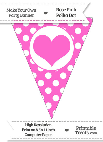 Rose Pink Polka Dot Pennant Flag with Heart from PrintableTreats.com