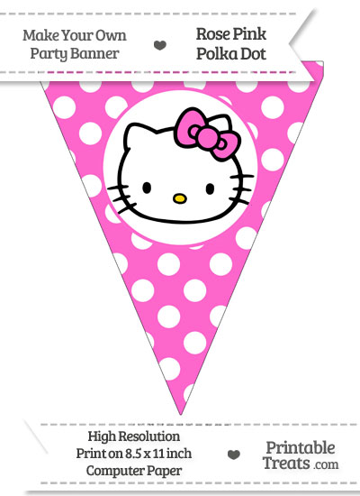Rose Pink Polka Dot Pennant Flag with Hello Kitty from PrintableTreats.com