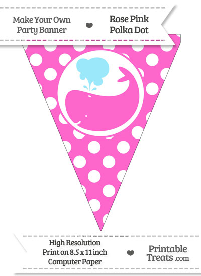 Rose Pink Polka Dot Pennant Flag with Whale Facing Left from PrintableTreats.com