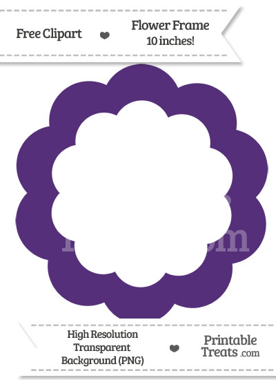 Royal Purple Flower Frame Clipart from PrintableTreats.com