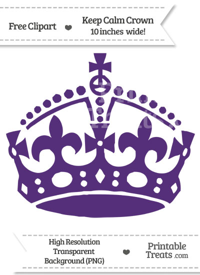 Royal Purple Keep Calm Crown Clipart from PrintableTreats.com
