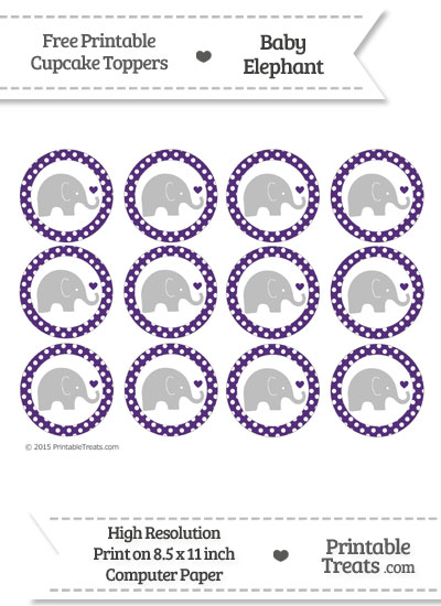 Royal Purple Polka Dot Baby Elephant Cupcake Toppers from PrintableTreats.com