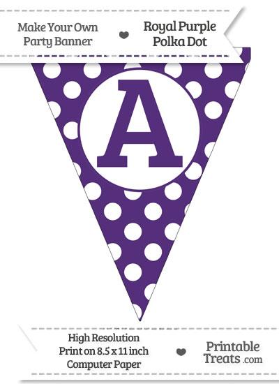 Royal Purple Polka Dot Pennant Flag Capital Letter A from PrintableTreats.com