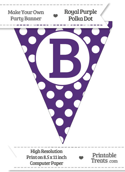 Royal Purple Polka Dot Pennant Flag Capital Letter B from PrintableTreats.com