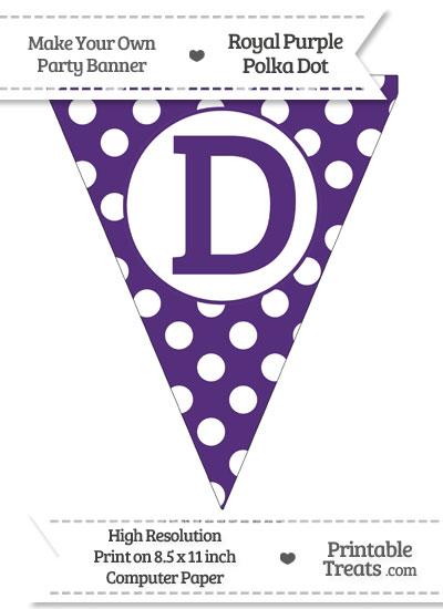 Royal Purple Polka Dot Pennant Flag Capital Letter D from PrintableTreats.com