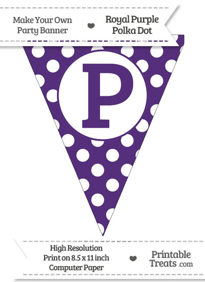 Royal Purple Polka Dot Pennant Flag Capital Letter P from PrintableTreats.com