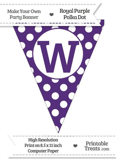 Royal Purple Polka Dot Pennant Flag Capital Letter W from PrintableTreats.com