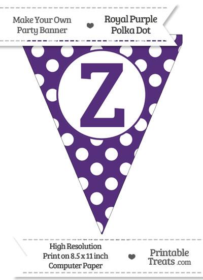 Royal Purple Polka Dot Pennant Flag Capital Letter Z from PrintableTreats.com
