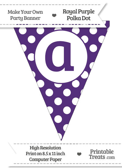 Royal Purple Polka Dot Pennant Flag Lowercase Letter A from PrintableTreats.com