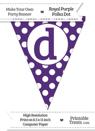 Royal Purple Polka Dot Pennant Flag Lowercase Letter D from PrintableTreats.com