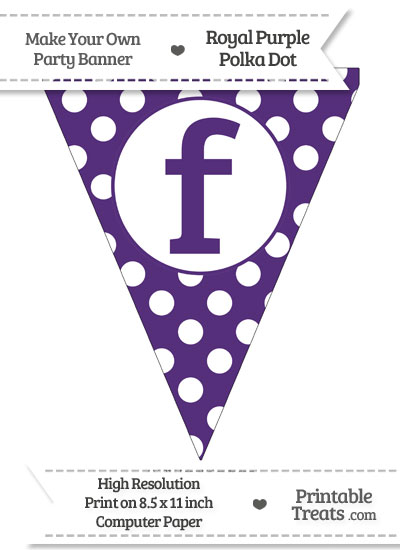 Royal Purple Polka Dot Pennant Flag Lowercase Letter F from PrintableTreats.com