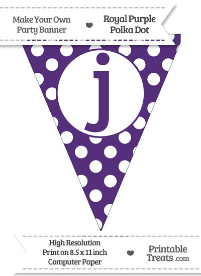 Royal Purple Polka Dot Pennant Flag Lowercase Letter J from PrintableTreats.com