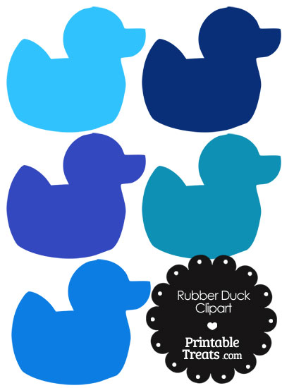 Rubber Duck Clipart in Shades of Blue from PrintableTreats.com