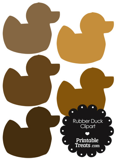 Rubber Duck Clipart in Shades of Brown from PrintableTreats.com