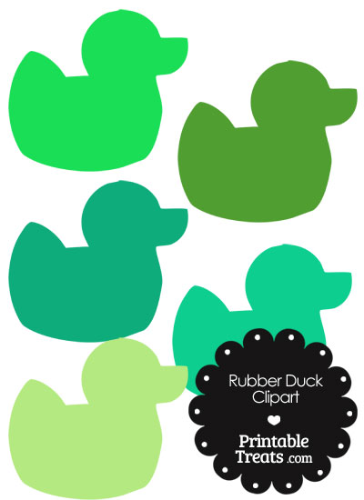 Rubber Duck Clipart in Shades of Green from PrintableTreats.com