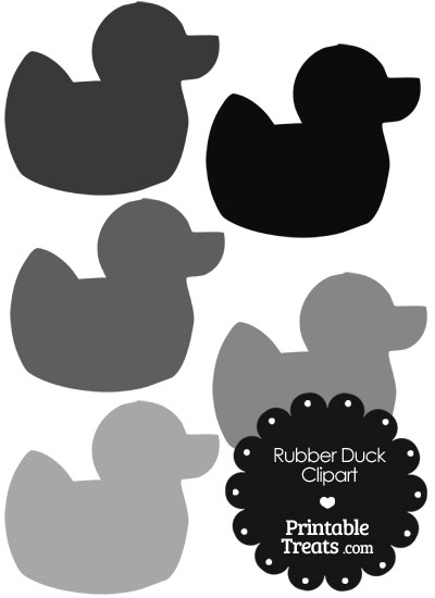 Rubber Duck Clipart in Shades of Grey from PrintableTreats.com