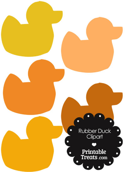 Rubber Duck Clipart in Shades of Orange from PrintableTreats.com