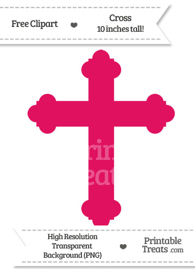Ruby Pink Cross Clipart from PrintableTreats.com