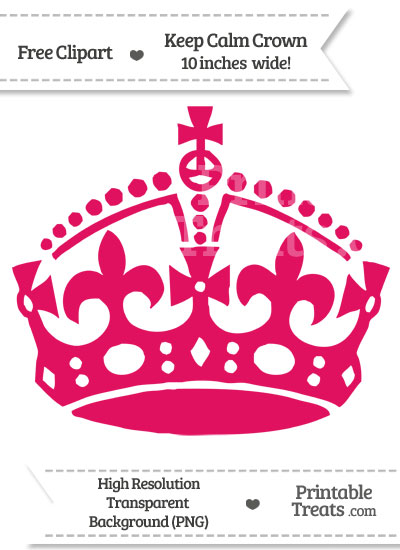 Ruby Pink Keep Calm Crown Clipart from PrintableTreats.com
