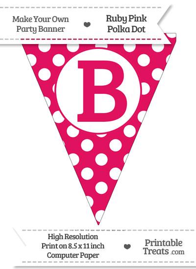 Ruby Pink Polka Dot Pennant Flag Capital Letter B from PrintableTreats.com