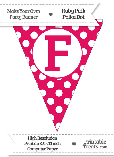 Ruby Pink Polka Dot Pennant Flag Capital Letter F from PrintableTreats.com