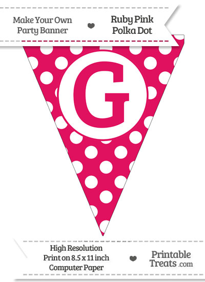 Ruby Pink Polka Dot Pennant Flag Capital Letter G from PrintableTreats.com