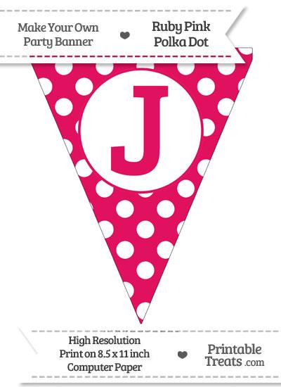 Ruby Pink Polka Dot Pennant Flag Capital Letter J from PrintableTreats.com