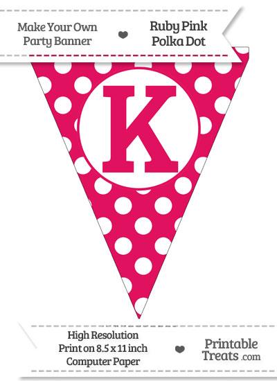 Ruby Pink Polka Dot Pennant Flag Capital Letter K from PrintableTreats.com
