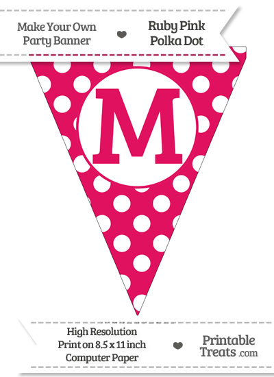Ruby Pink Polka Dot Pennant Flag Capital Letter M from PrintableTreats.com
