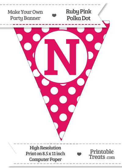 Ruby Pink Polka Dot Pennant Flag Capital Letter N from PrintableTreats.com