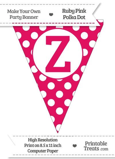 Ruby Pink Polka Dot Pennant Flag Capital Letter Z from PrintableTreats.com