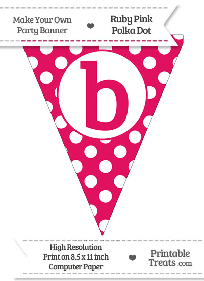 Ruby Pink Polka Dot Pennant Flag Lowercase Letter B from PrintableTreats.com