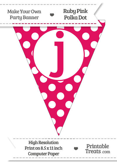 Ruby Pink Polka Dot Pennant Flag Lowercase Letter J from PrintableTreats.com