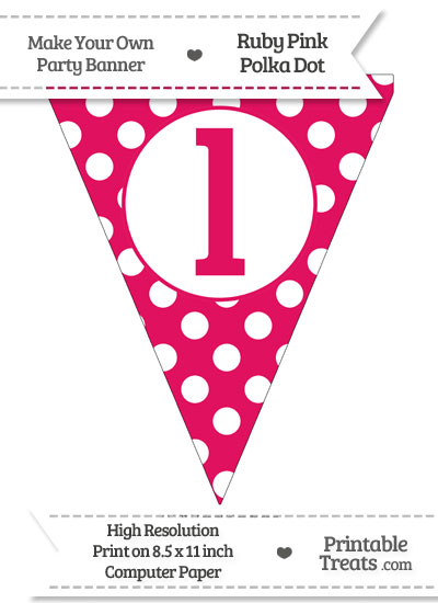 Ruby Pink Polka Dot Pennant Flag Lowercase Letter L from PrintableTreats.com