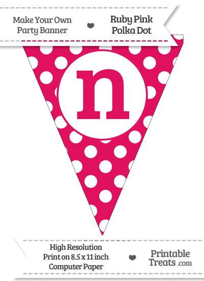 Ruby Pink Polka Dot Pennant Flag Lowercase Letter N from PrintableTreats.com