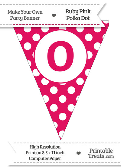 Ruby Pink Polka Dot Pennant Flag Lowercase Letter O from PrintableTreats.com