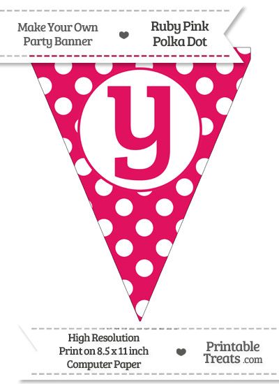 Ruby Pink Polka Dot Pennant Flag Lowercase Letter Y from PrintableTreats.com