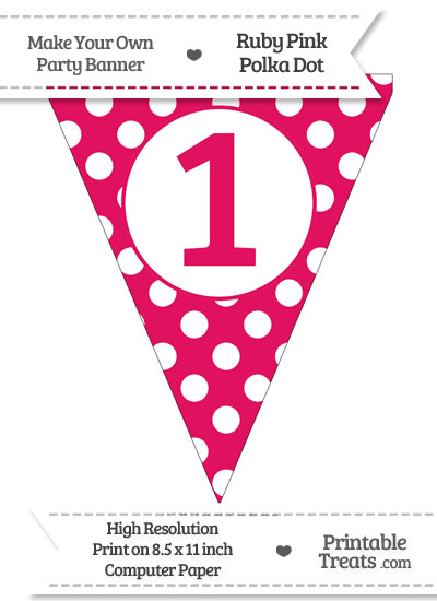 Ruby Pink Polka Dot Pennant Flag Number 1 from PrintableTreats.com