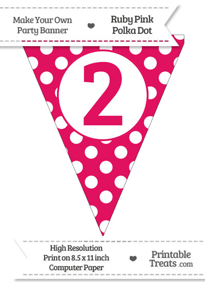 Ruby Pink Polka Dot Pennant Flag Number 2 from PrintableTreats.com