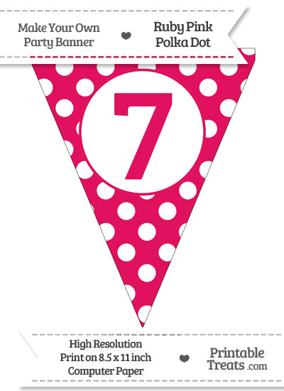 Ruby Pink Polka Dot Pennant Flag Number 7 from PrintableTreats.com