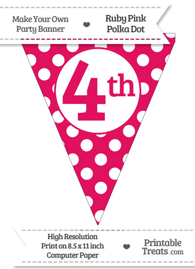 Ruby Pink Polka Dot Pennant Flag Ordinal Number 4th from PrintableTreats.com