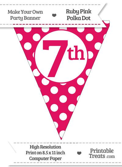 Ruby Pink Polka Dot Pennant Flag Ordinal Number 7th from PrintableTreats.com