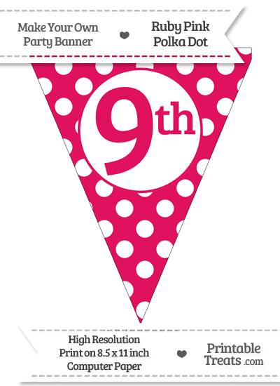 Ruby Pink Polka Dot Pennant Flag Ordinal Number 9th from PrintableTreats.com