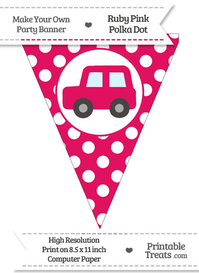 Ruby Pink Polka Dot Pennant Flag with Car Facing Left from PrintableTreats.com