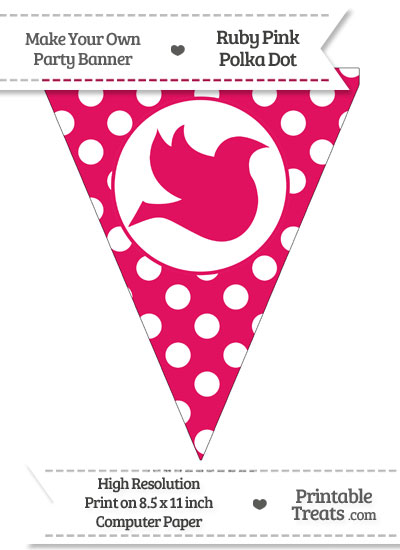 Ruby Pink Polka Dot Pennant Flag with Dove Facing Right from PrintableTreats.com