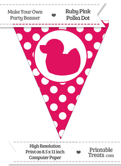 Ruby Pink Polka Dot Pennant Flag with Duck Facing Left from PrintableTreats.com