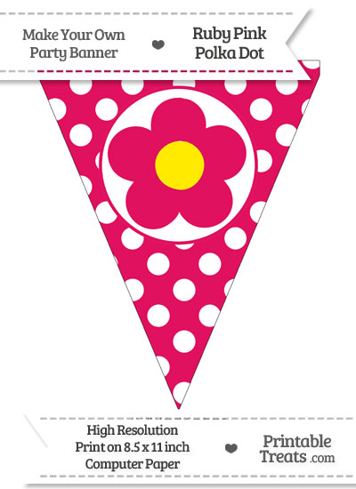 Ruby Pink Polka Dot Pennant Flag with Flower from PrintableTreats.com